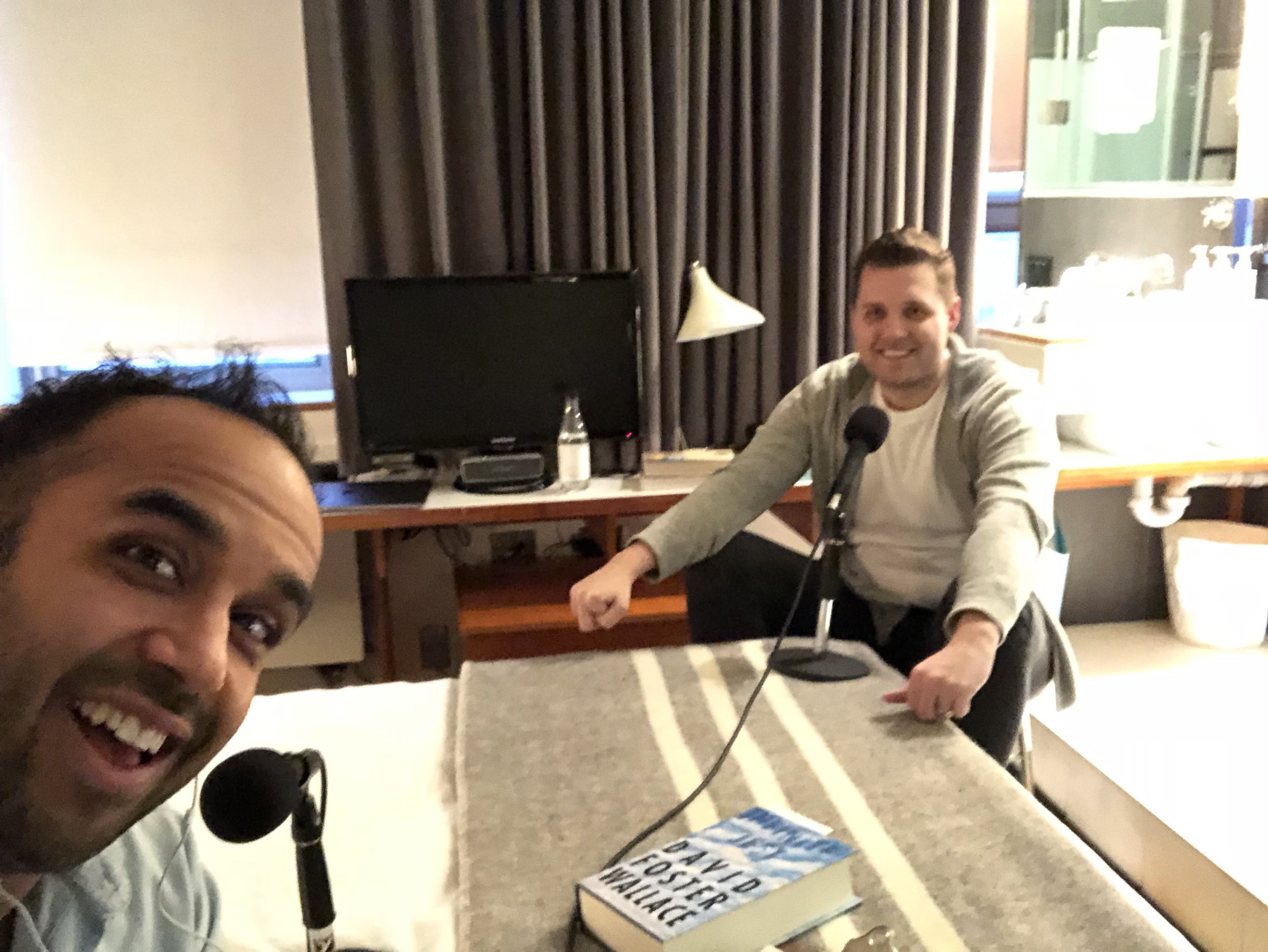A blurry selfie of me and Mark in his hotel room!