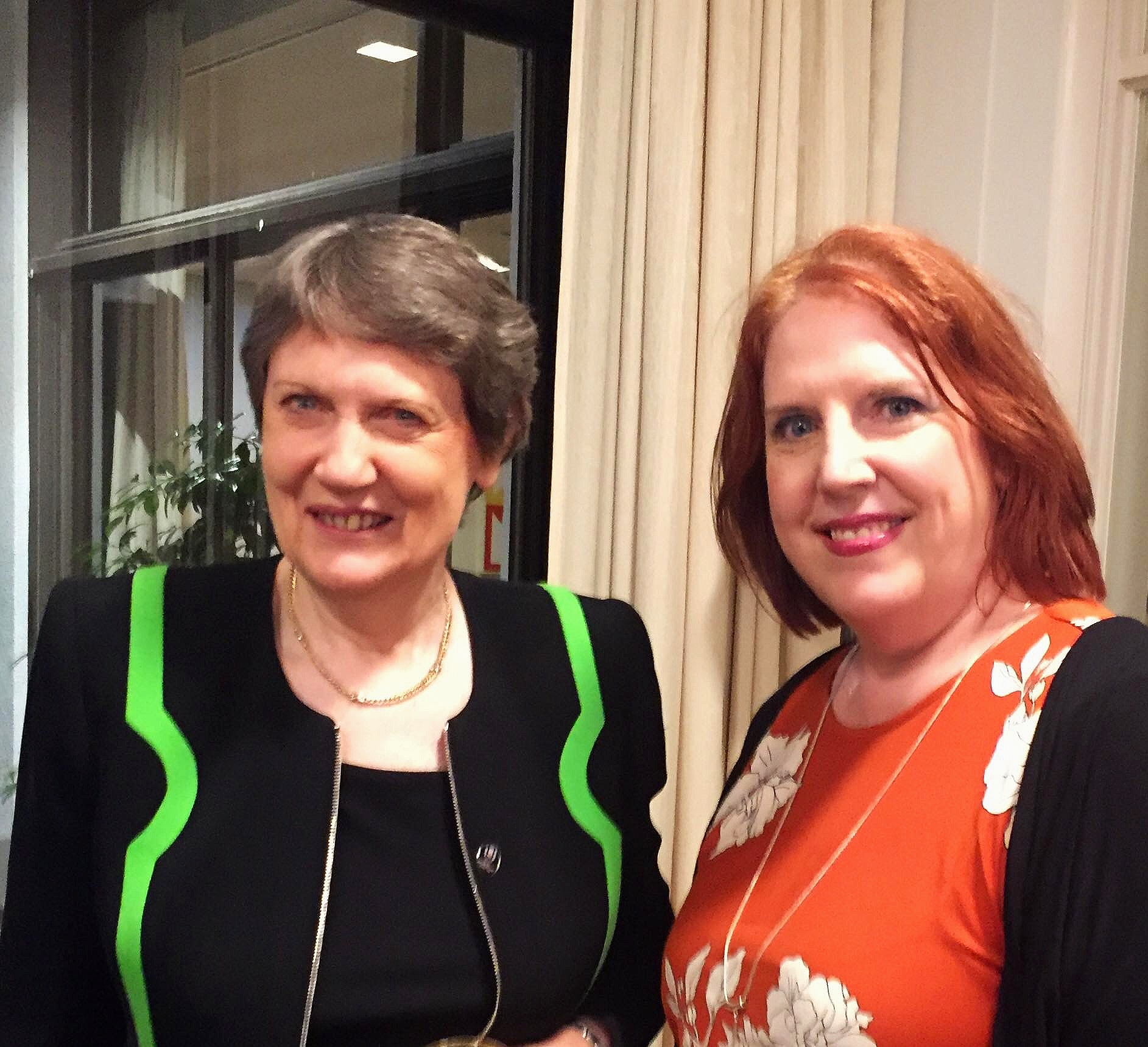Catherine O'Connell with former NZ prime minister the Rt Honourable Helen Clark at the NZ Embassy in 2018