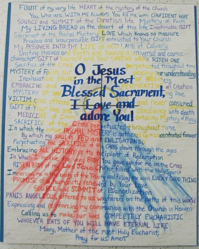 Created by Nora for Mother Catherine Marie. Made of quotes from St. John Paul II's Ecclesiae de Eucharistia.