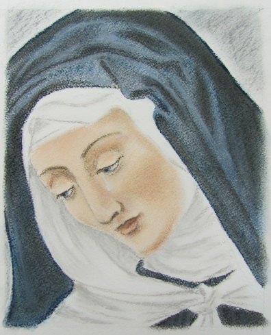 Breath-taking image of Our Lady of Sorrows drawn by Sr. Rose Marie
