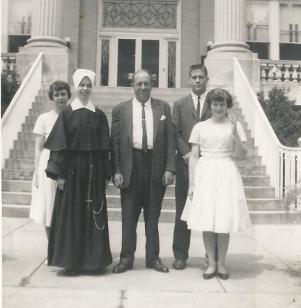 July 1960—Barb as Sr. Mary Josepha, SCN visiting with her family at the motherhouse in Nazareth, KY after her First Profession of vows. L-R: Cissy, Sr. M. Josepha, dad, Bill, Betsy. Cissy and Betsy were wearing matching dresses Cissy bought for the occasion.