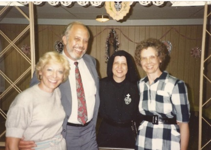 Betsy, Bill, Sr. Mary Dolores and Sr. Barb at Sr. Mary Dolores'  Silver Jubilee celebration in  1989.