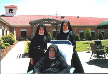 Sr. Mary Dolores (right), along with Sr. Therese Marie (left) and other sisters, lovingly and generously cared for our last living foundress Sr. Mary Bernadette. Sr. Mary Dolores would care for Sr. M. Bernadette's needs at night and have charge of kitchen and do community correspondence during the day.
