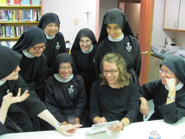 Olivia shares photos of family, friends and artwork with the nuns
