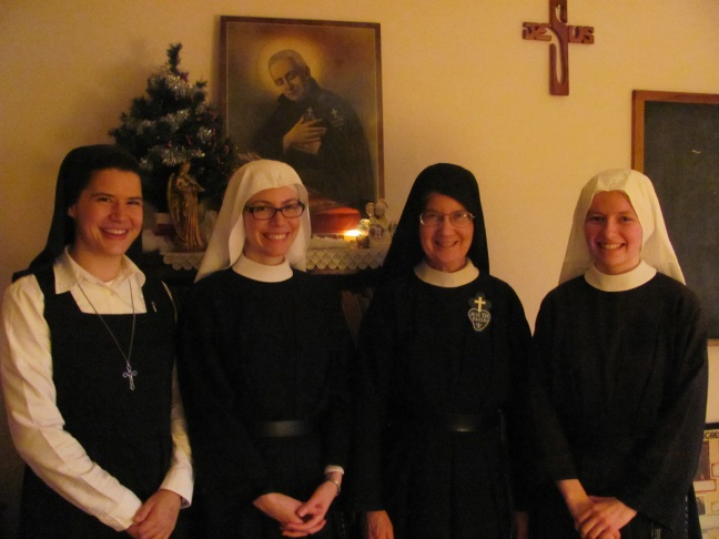 Postulant Ruth, Sr. Maria Faustina, Sr. Mary Veronica, and Sr. Frances Marie at the end of a joyful afternoon.