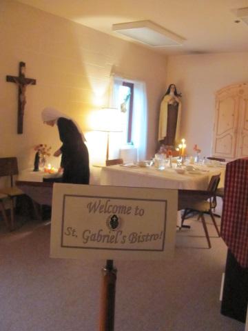 The hostess' desk upon entering St. Gabriel's Bistro