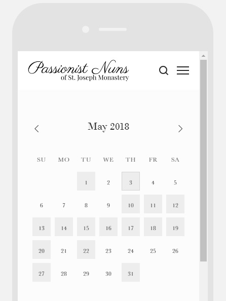 On mobile, hover on a grey square to see info about the feast or click…