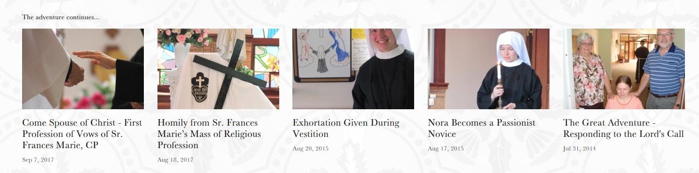 Sister Frances Marie's vocation story blog links.