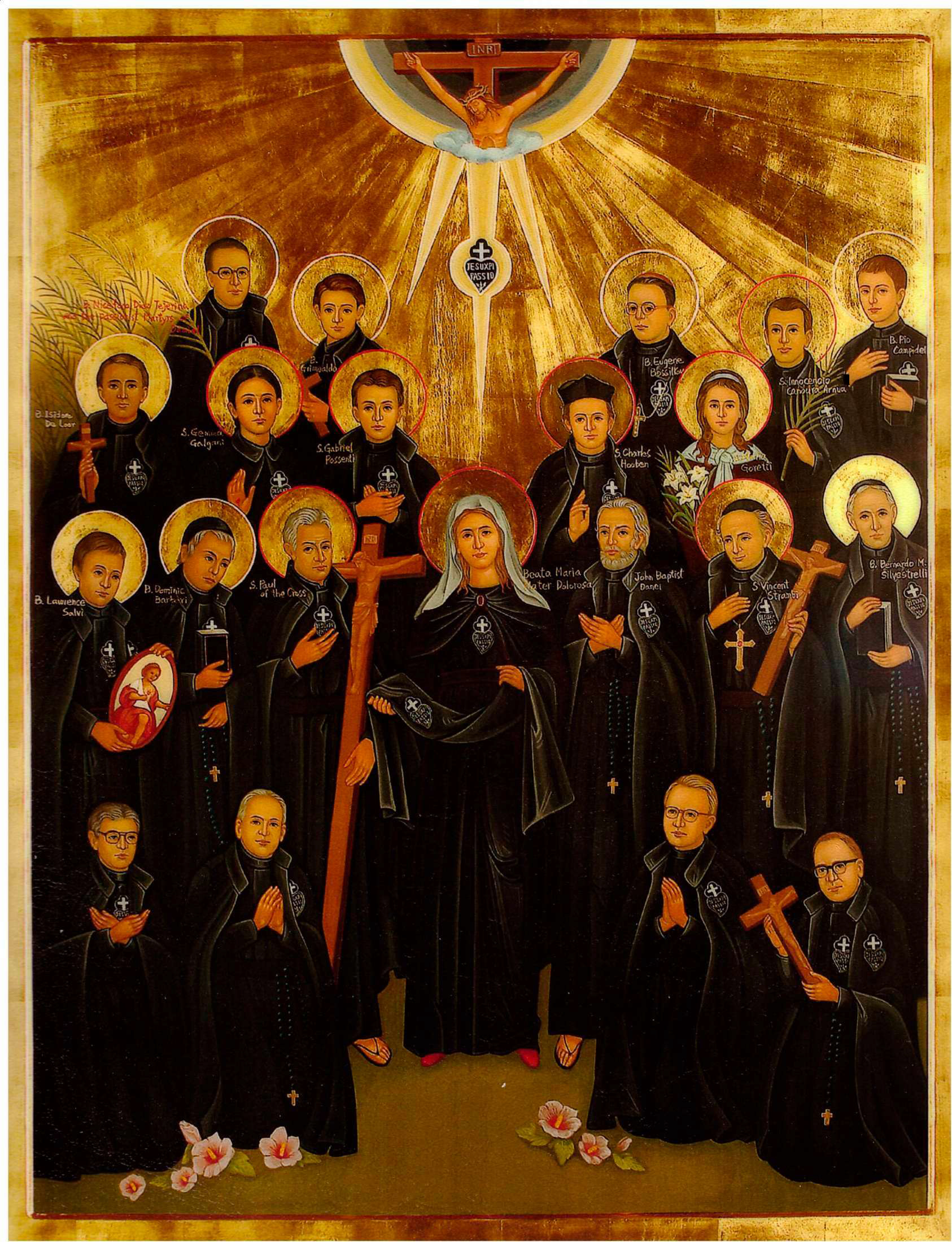 Icon of Our Lady of Sorrows, principal patroness of the Passionist Congregation, surrounded by many of our Passionist Saints and Blesseds. The priest standing to her right who does not have a halo is Fr. John Baptist Danei, brother and first companion of St. Paul of the Cross. The four priests kneeling in front are the founders of the Korean Passionist community.