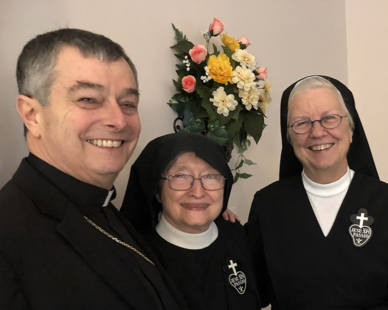 Bishop William Medley of the Diocese of Owensboro with Mother Catherine Marie, CP and Sr. Joan Mary, CP
