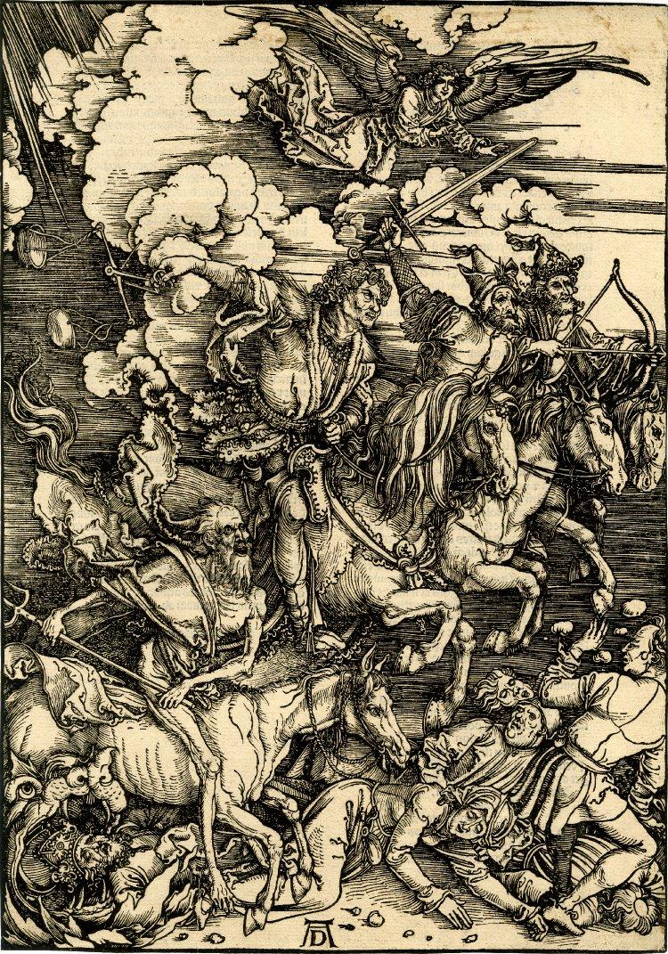 A famous woodcut of the Four Horsemen by Albrecht Dürer [Public domain], via Wikimedia Commons