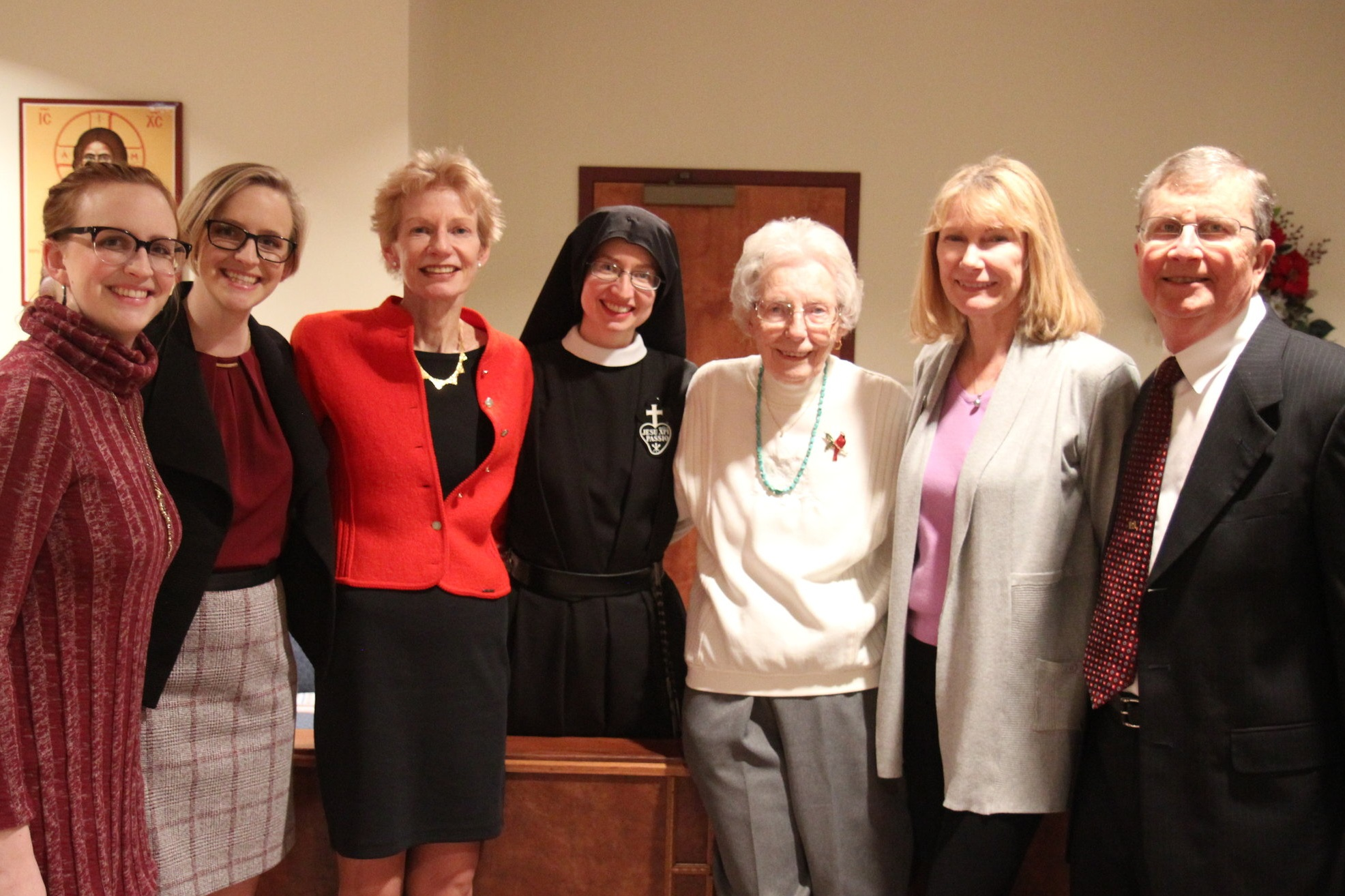 Sr. Cecilia Maria with some of her family: twin cousins Emily & Rachel; Jane (mom), Grandma Nita, Aunt Alice, and Tim (dad).