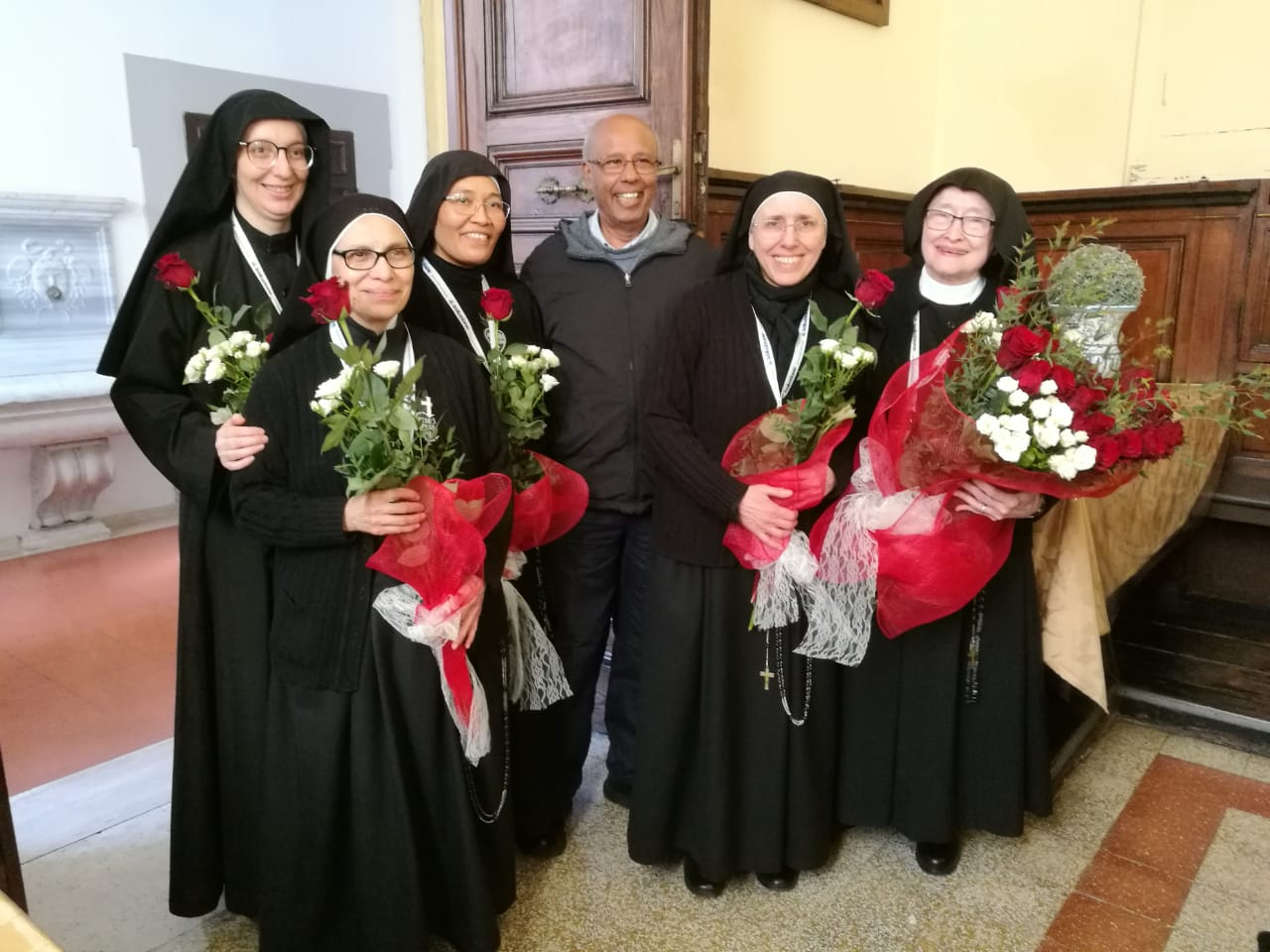 The newly-elected Mother President and General Council with Fr. Joachim Rego, CP, Superior General of the Passionist Fathers