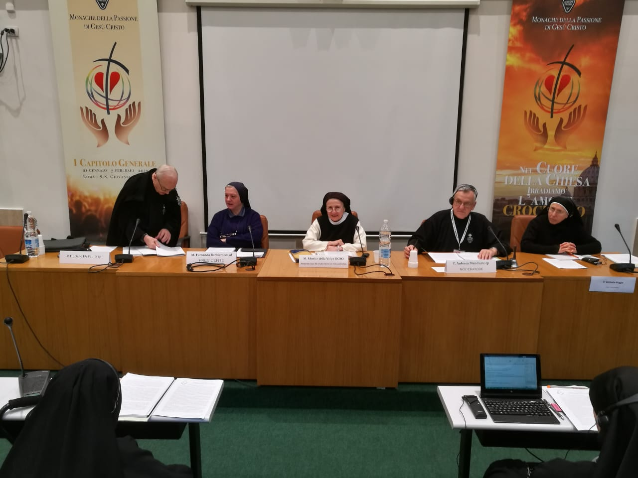 P. Floriano di Fabiis, CP; M. Fernanda Barbiero, smsd and General Delegate of the Holy See; Mother Monica della Volpe, OCSO gave conferences during the retreat days that began the general chapter; Fr. Antonio Munduate, CP; & M. Gertrude Poggio, CP, secretary at the General Chapter