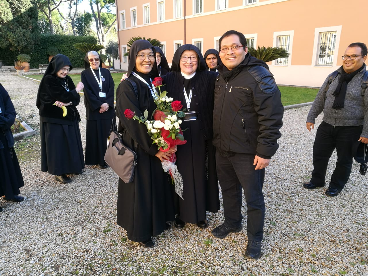 Sr. Martina Naiman, general councilor, with Mother Catherine Marie and Sr. Martina's brother, Fr. Mikael, CP