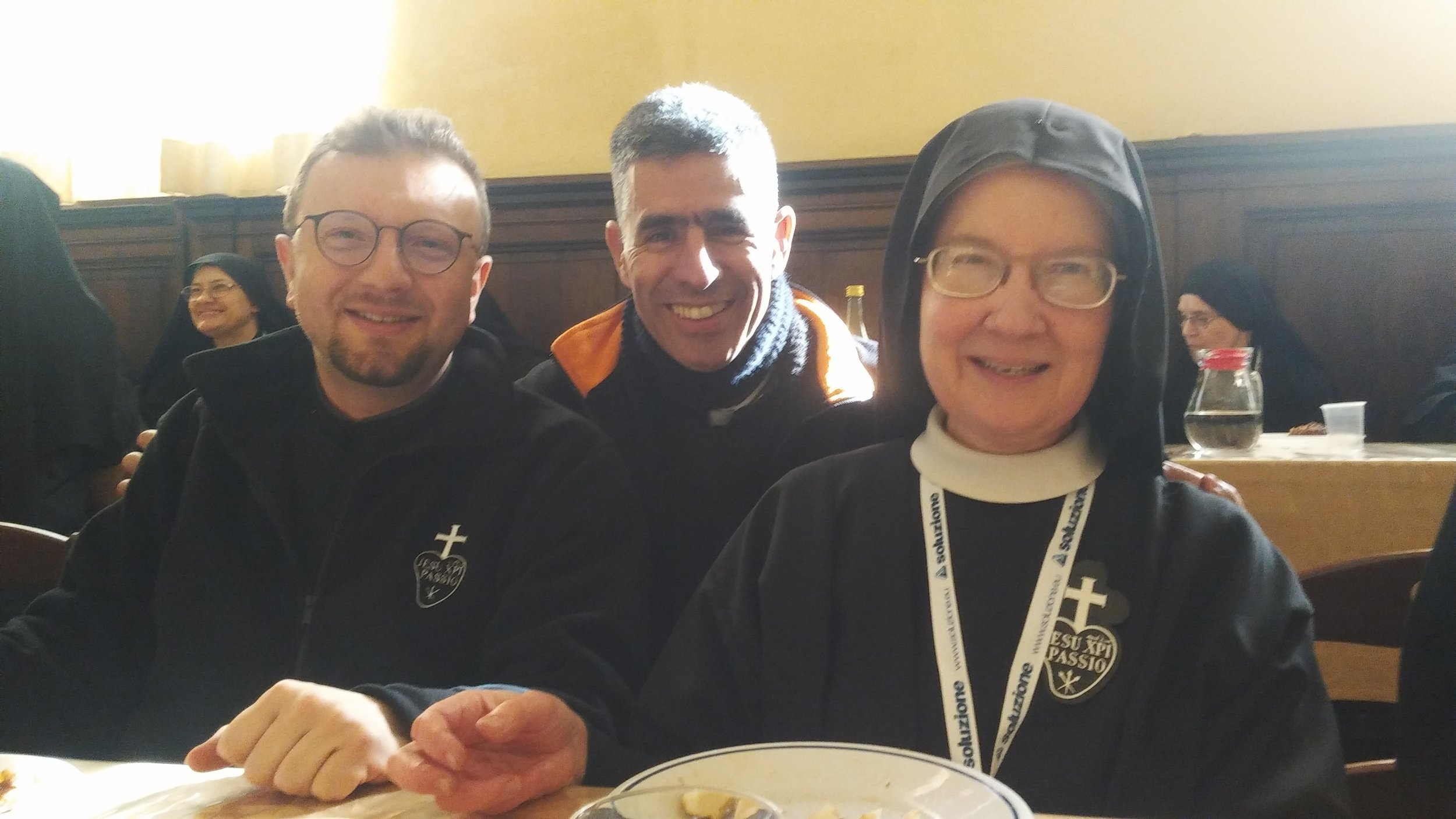 Padre Marino, CP and Padre Fernando, CP with Sr. Mary Veronica.