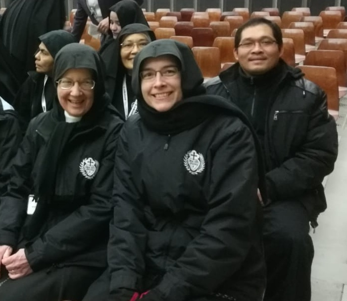 Sr. Mary Veronica and Mother John Mary await Pope Francis' Wednesday Audience