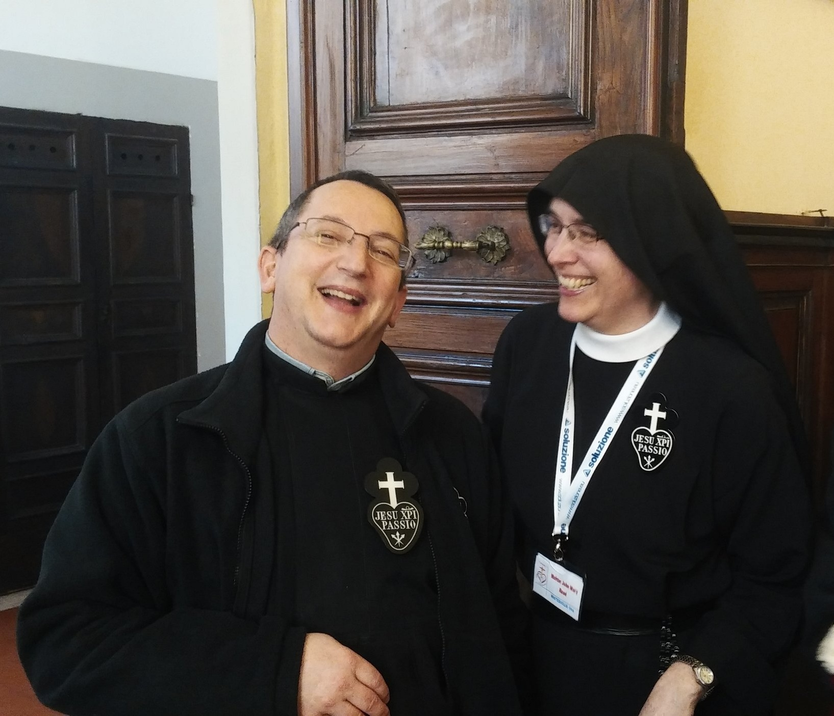 P. Alessandro and Mother John Mary at the post-election celebration.
