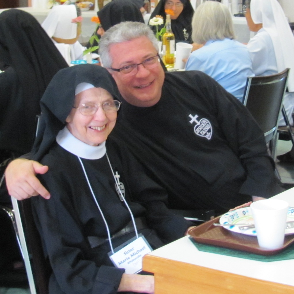 Sr. Marie Michael with Fr. Joe Barbieri, CP during the 2017 Assembly of English-speaking Passionist Nuns