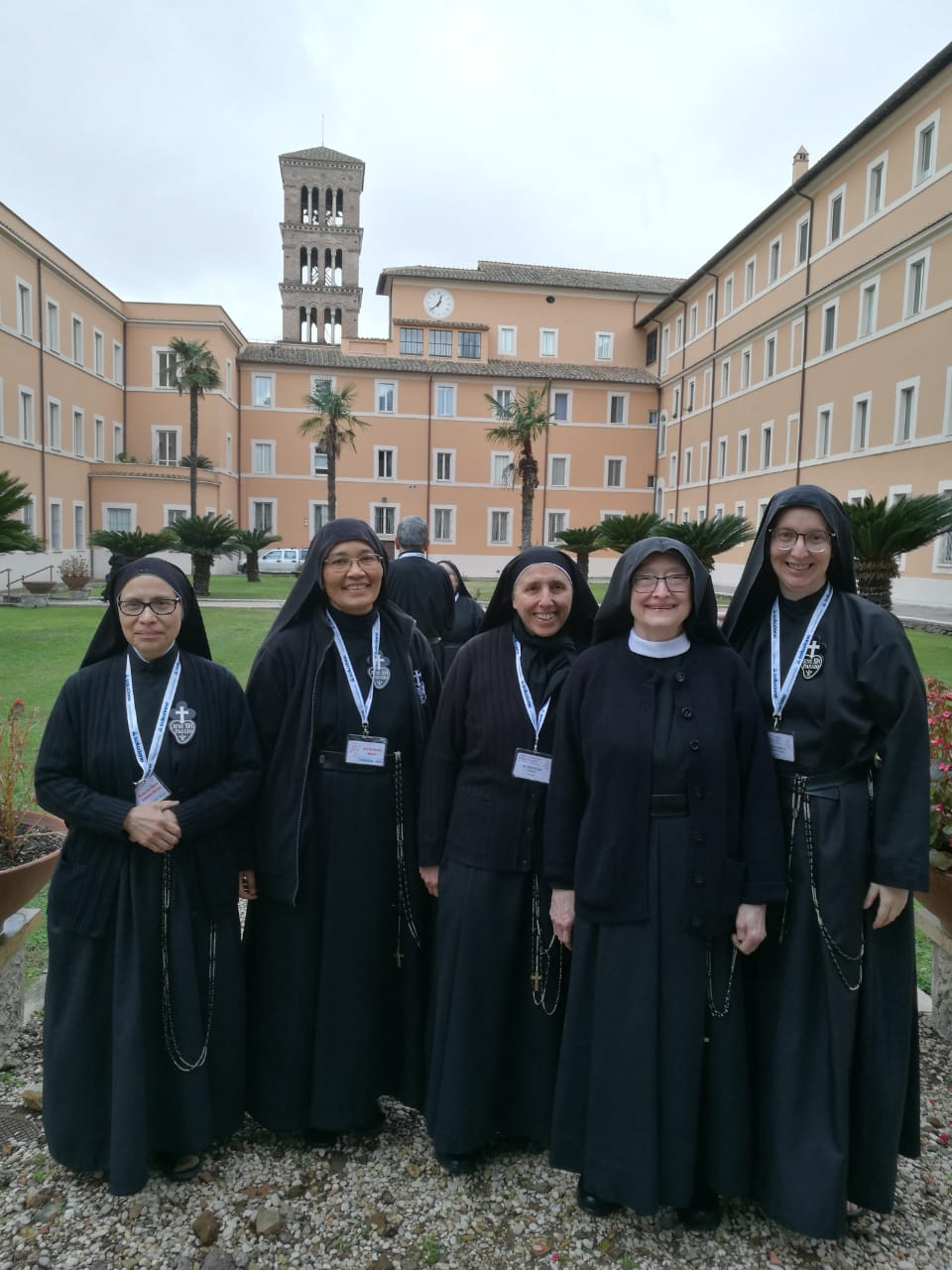 The General Council: Mother Ana Maria (Mexico), Sr. Martina (Italy), Mother Gertrude (France), Mother Catherine Marie (USA), and Sr. Daniela (Brazil) at Sts. John and Paul in Rome