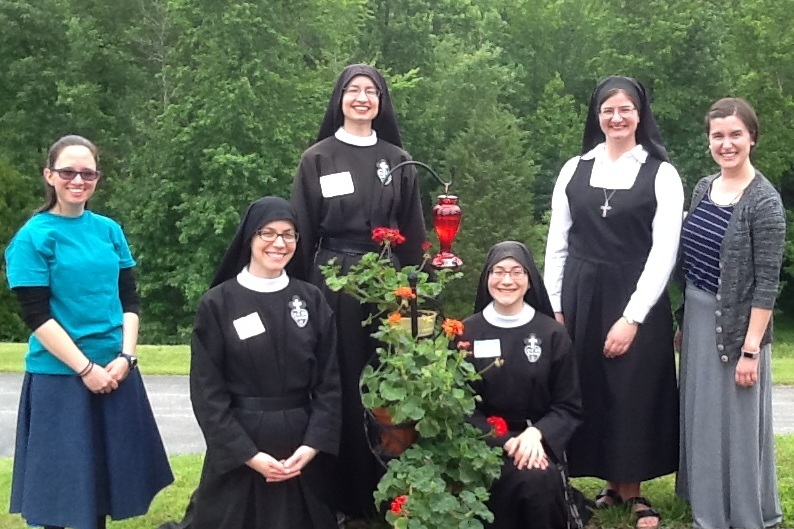Some of the nuns with Vocation Retreat attendees, Rebekah and Allison.