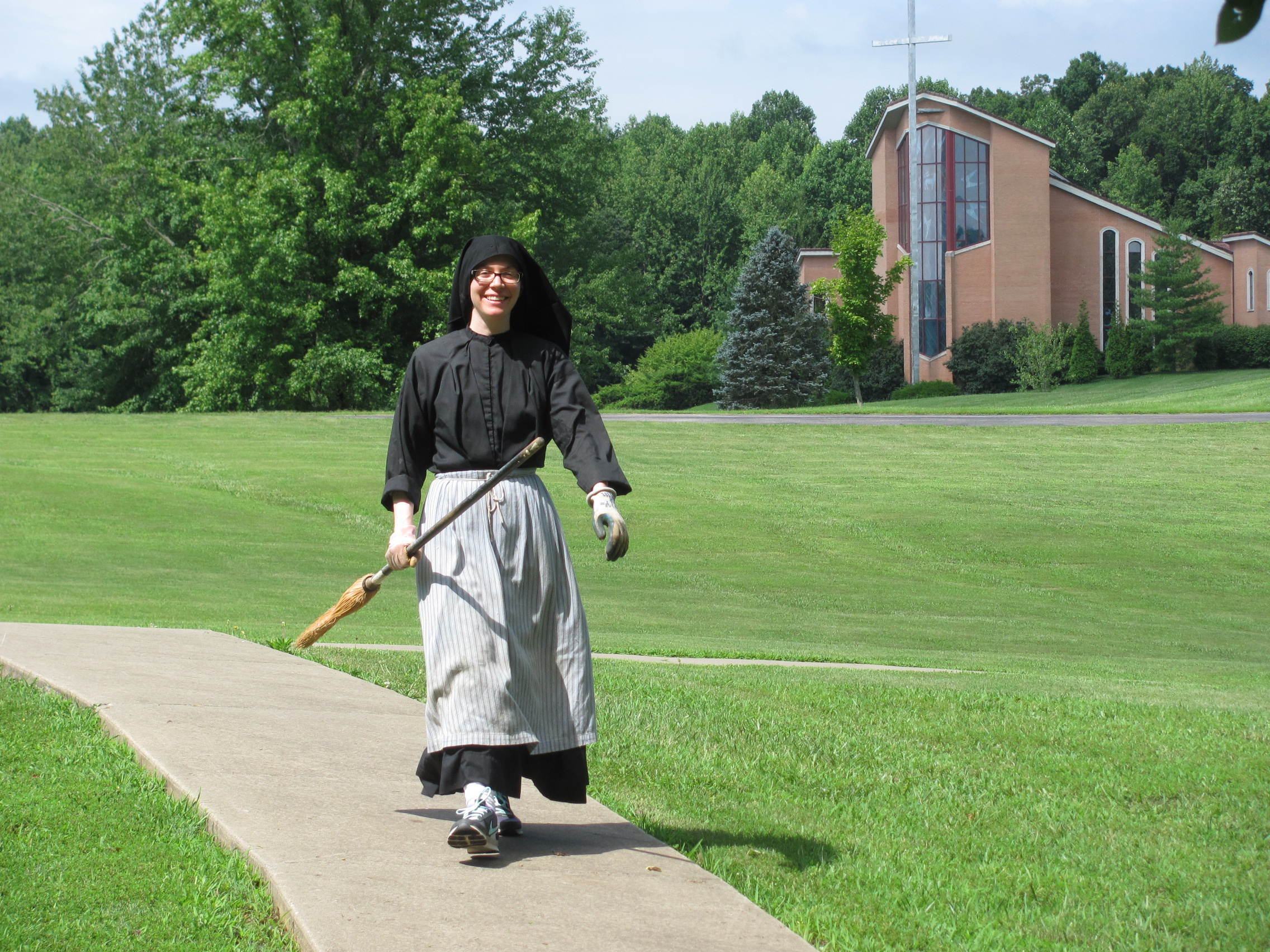 Sr. Maria Faustina is ready for the Weeding Posse Clean-up Crew.