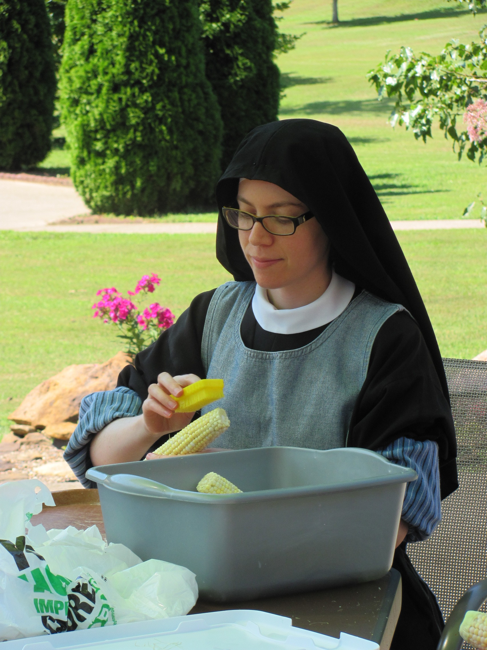 Sr. Maria Faustina enjoying the cool morning in the courtyard.