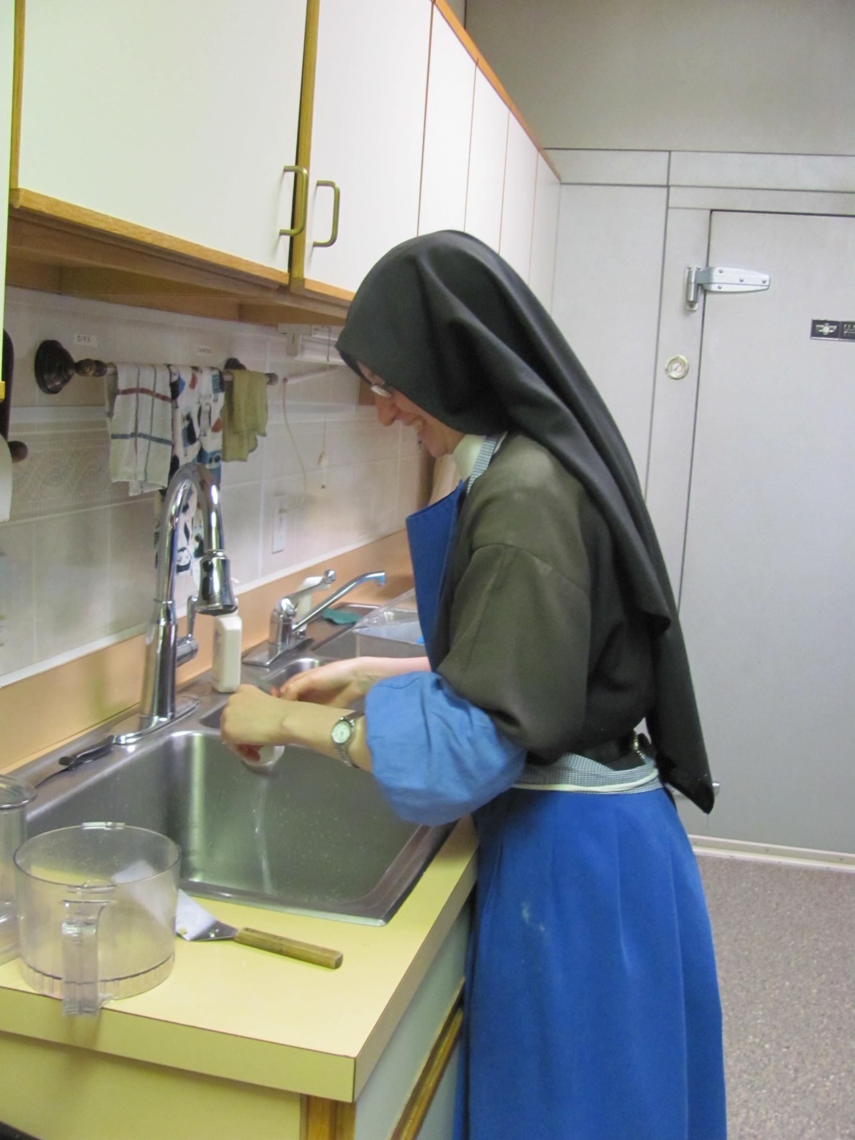 Sr. Frances Marie, our valiant dishwasher!