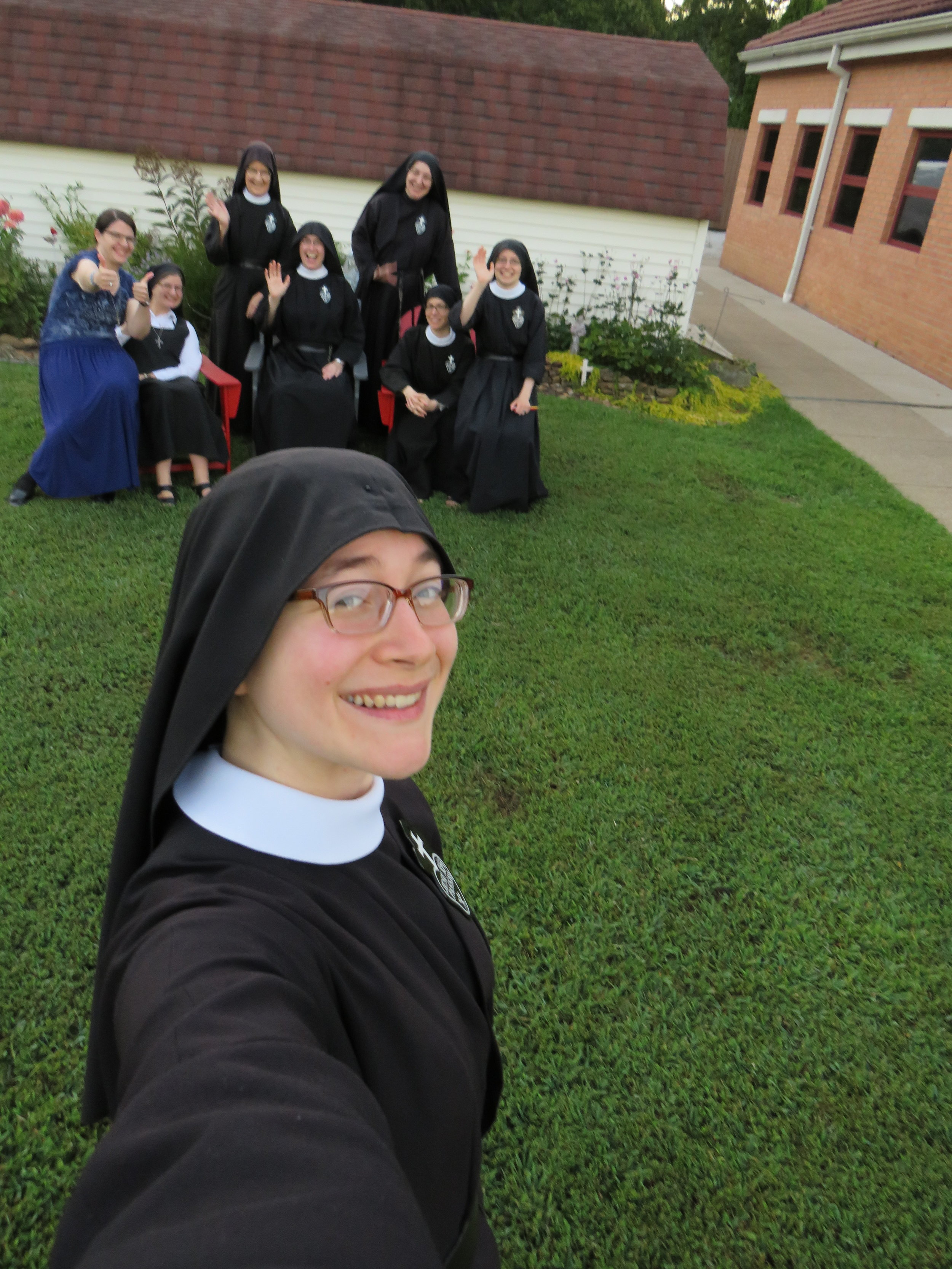 """And, in an obediently snapped """"selfie"""", a rare glimpse of the Camera Nun!"""