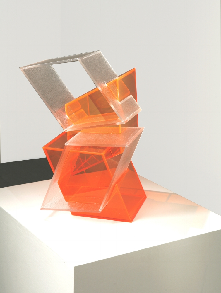 Mingled Stutter  (orange) 2007 Plexiglas 17.5Hx12Wx13D  inches / 44x31x33 cm