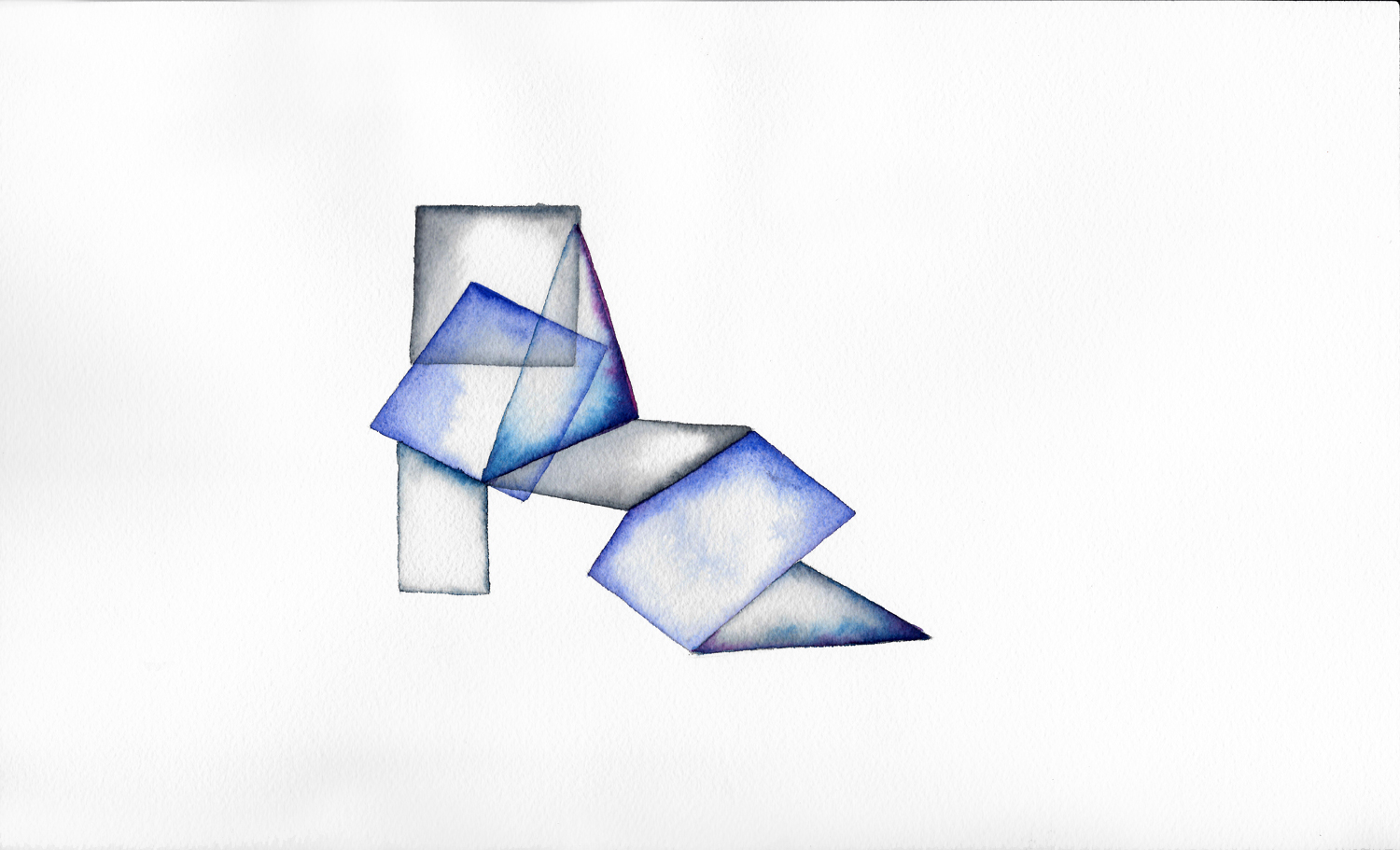 Folded 2  2014  watercolor on 100% rag paper 10x14 inches / 25x36 cm
