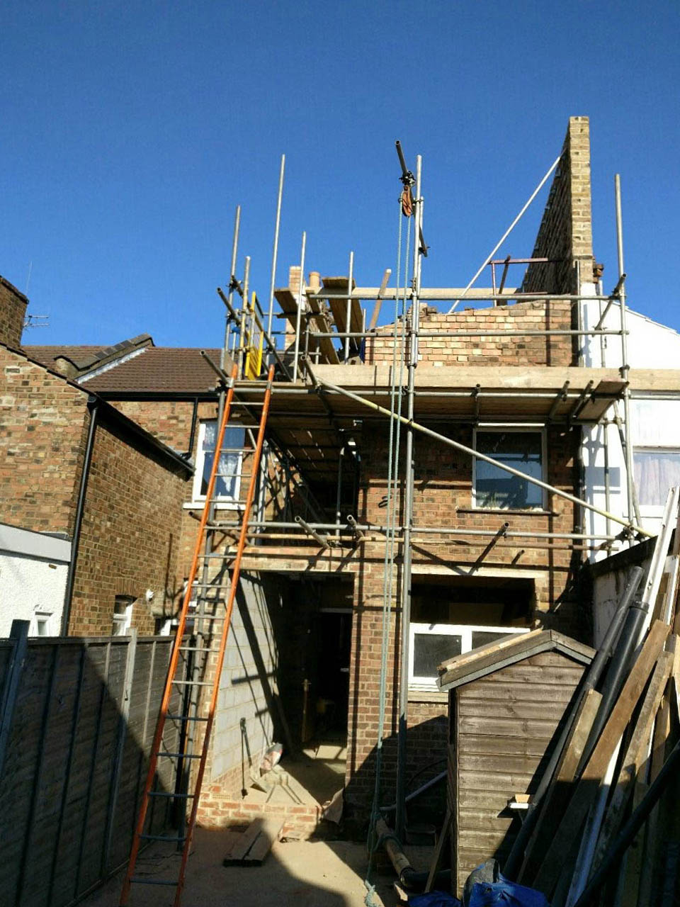 PROGRESS - Dilapidated terraced victorian property. Extended and developed to include additional loft space in the second floor with ensuite and extended kitchen in the ground floor. Other works included total refurbishment of the property. (2017)