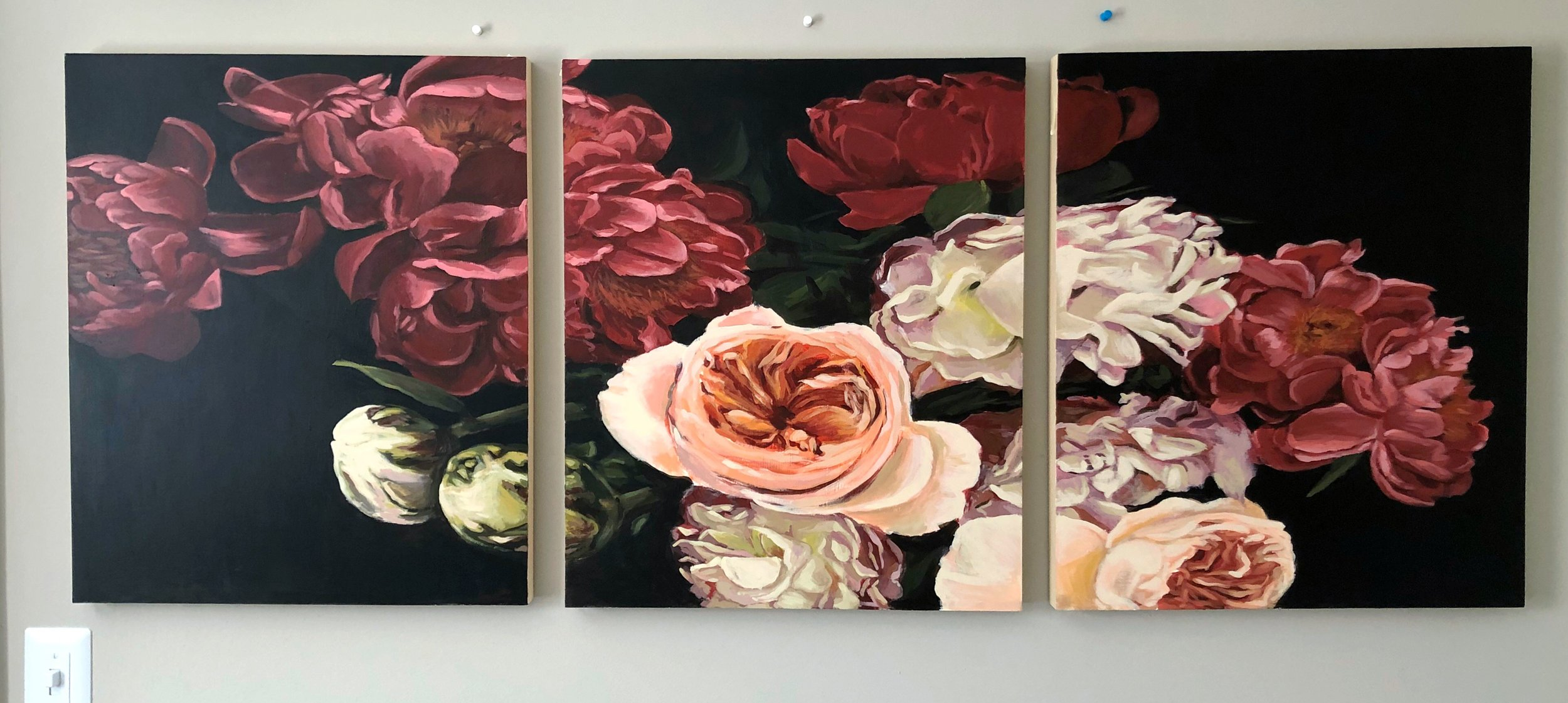 Floral Triptych - 2019 acrylic paintingPrivate Commission
