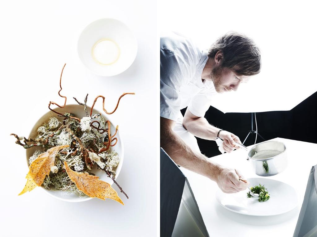Geranium - Per Henrik Lings Allé 4, 8, 2100 Osterbro +45.699.600.20, NettstedDet som kjennetegner restaurantene i København er deres uformelle atmosfære, Geranium er unntaket som bekrefter denne regelen, med sine hvite, stive duker og formelle stemning. Restauranten har tre stjerner i Michelin guiden og her spiser du med alle sanser. Hver rett er vakker som et maleri og du utfordres hele tiden, da alt ikke er som det først ser ut som. Geranium ligger i 8. etasje i Fælledparken i sentrum av byen. Her ser du ut over tretoppene og kan se hvordan de forskjellige årstidene forandrer utsikten. Kjøkkenet er skilt fra spiserommet med en glassvegg og det er minst like imponerende å se hvordan kokkene jobber.