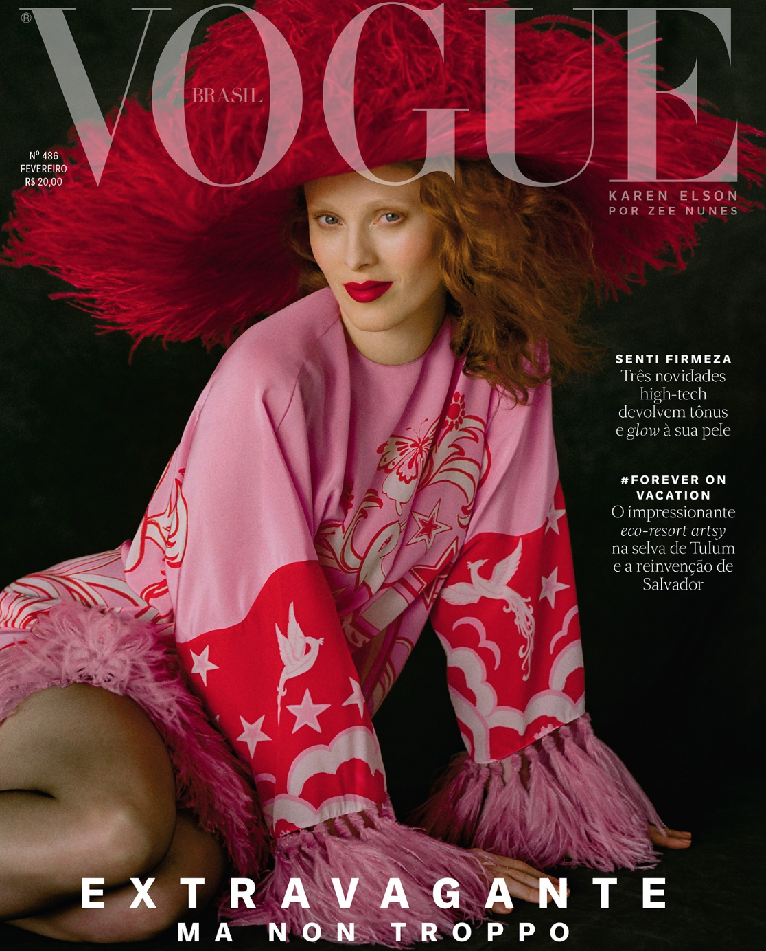 Vogue Brasil - Gisela Gueiros' interview with cover-girl Karen Elson for Vogue Brasil February 2019. More here. Article in Portuguese below.