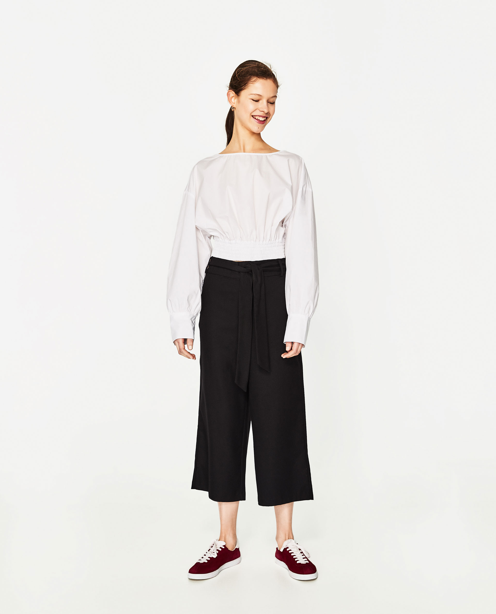 Cropped Trousers with Belt - Zara - £19.99