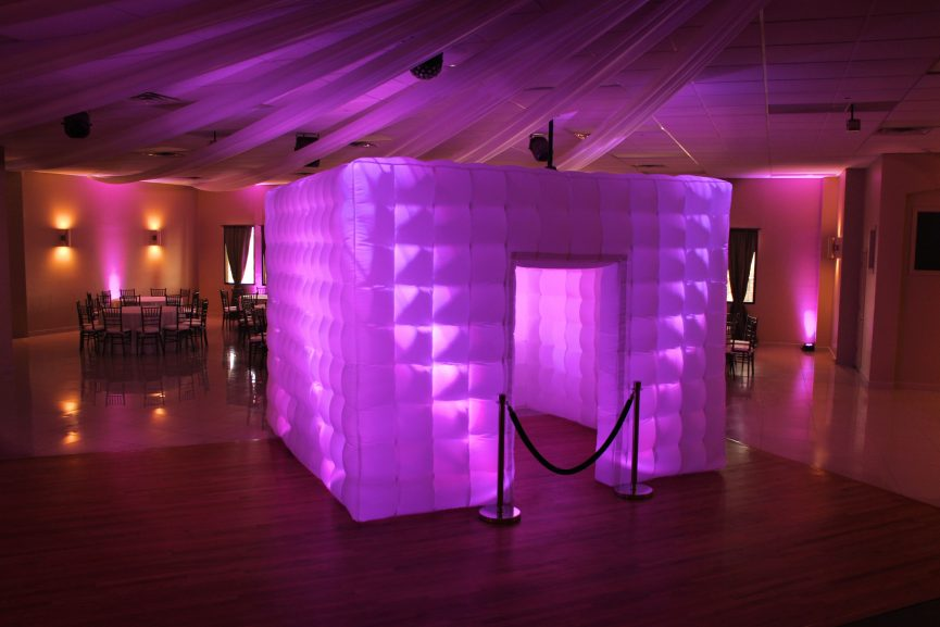 Color LED Inflatable Photo Booth  - The Color LED Enclosed (Inflatable) Photo Booth choose 1 color or a have multi colors. Program the photo booth to solid, blinking, flashing or strobe. This Photo booth Is