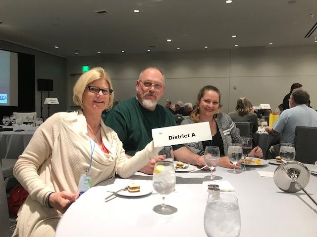 Representaion of LCC - LCFA President Carrie Nyman, Negotiator Robert Schofield and Media Chair Emily Broderick at LA winter conference.