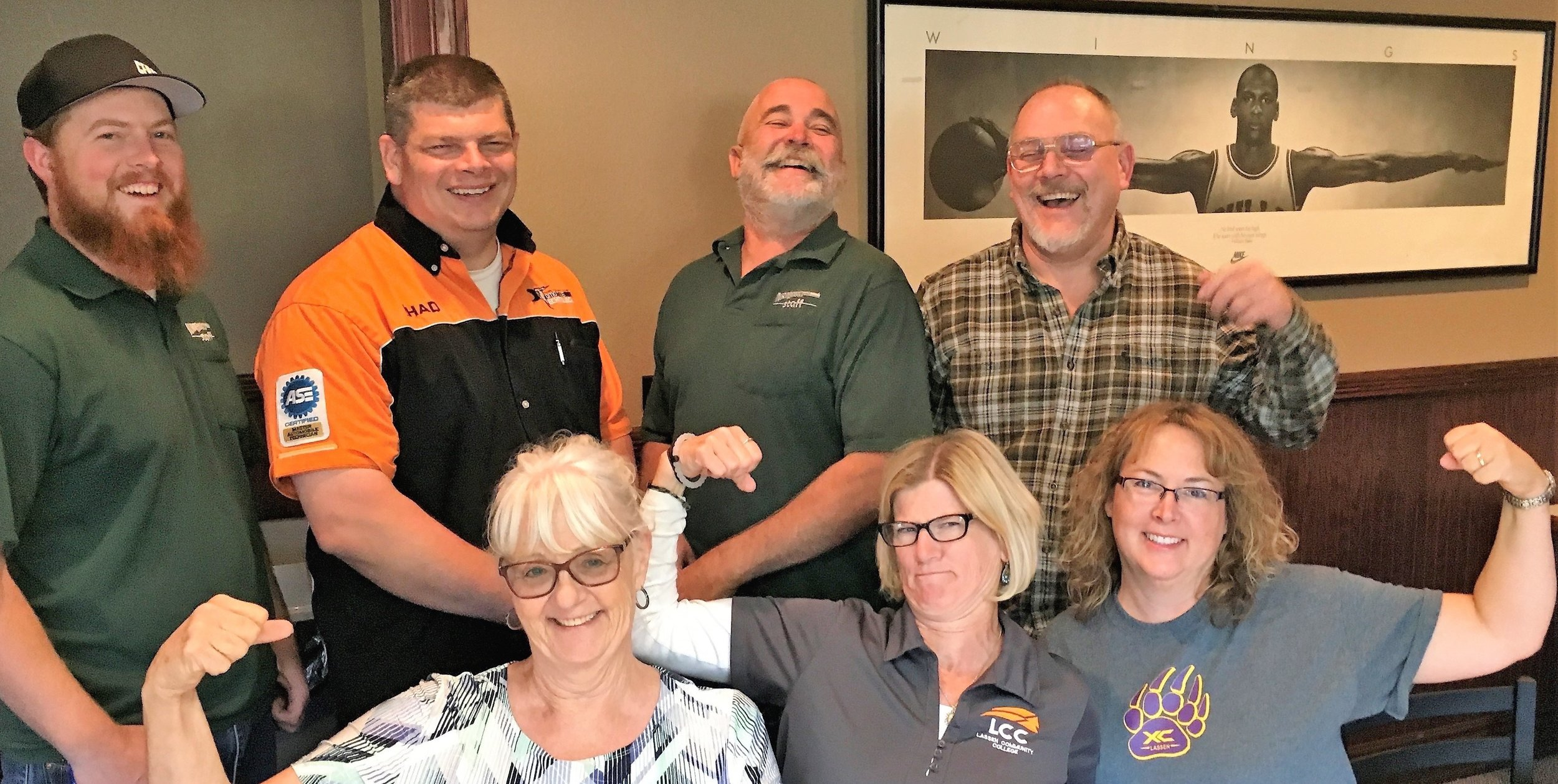 Who We Are - LCFA Board members from upper left Buck Bauer (Secretary Treasure), Chad Lewis (Vice President), John Martin (Faculty Negotiator-Full Time), and Robert Schofield (Chief Negotiator). Front from left Kittie Edson (Faculty Negotiator-Part-Time/Adjunct), Carrie Nyman (President), and Lisa Gardiner (Member At-Large).