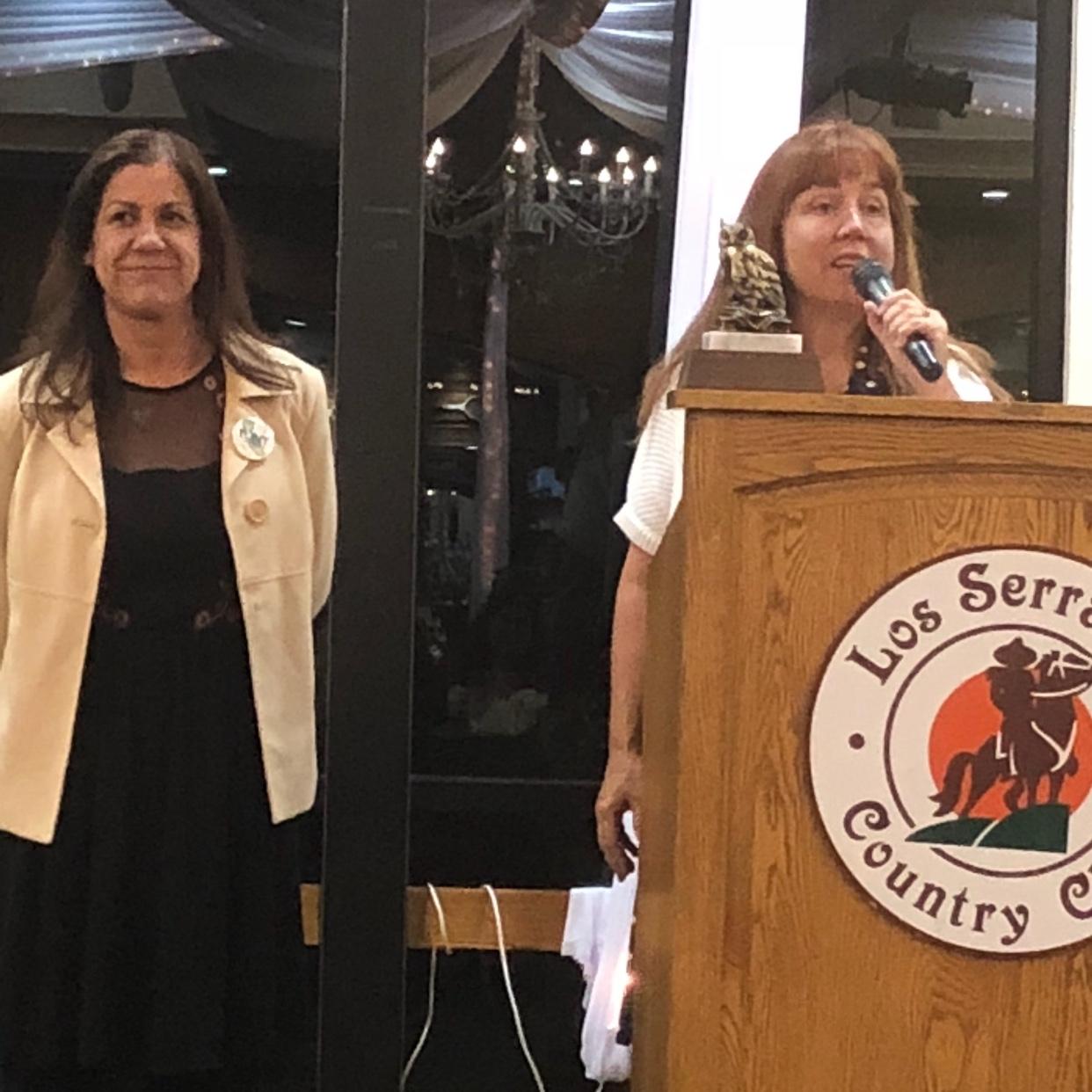 Laura Gaber,MVTA President, honoring Leticia Urias, Vice President and Bargaining Team Member.