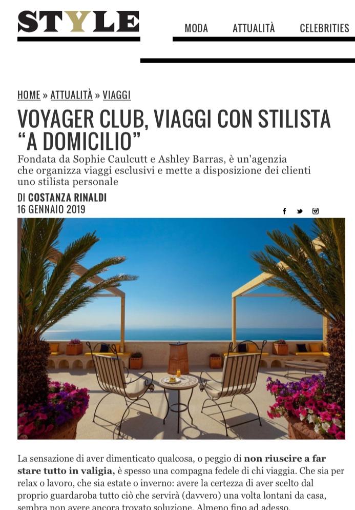 Voyager Club- Press - Corriere della Sera - Style Mazagine