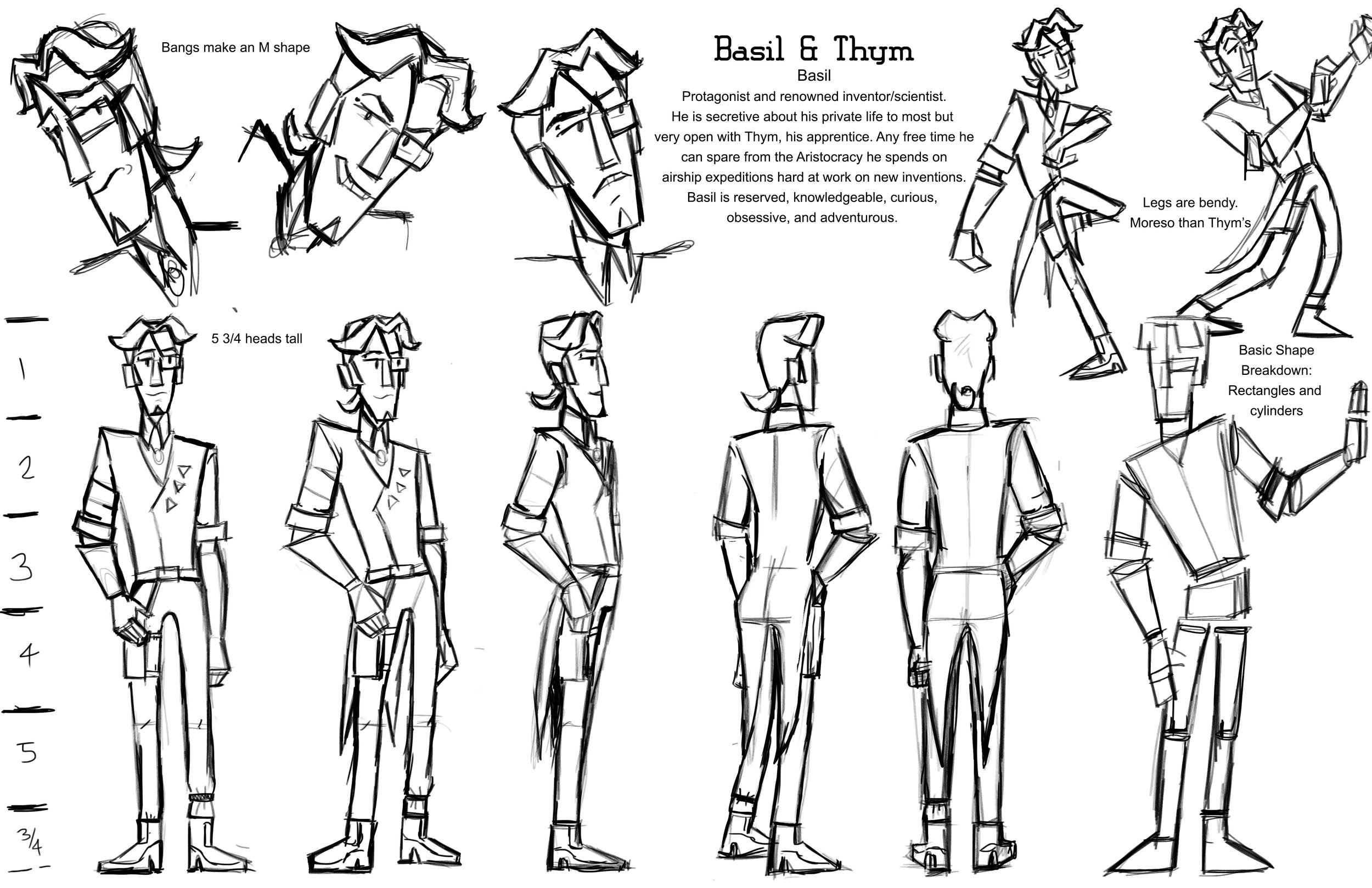 Animated Short Character Sheet: Basil