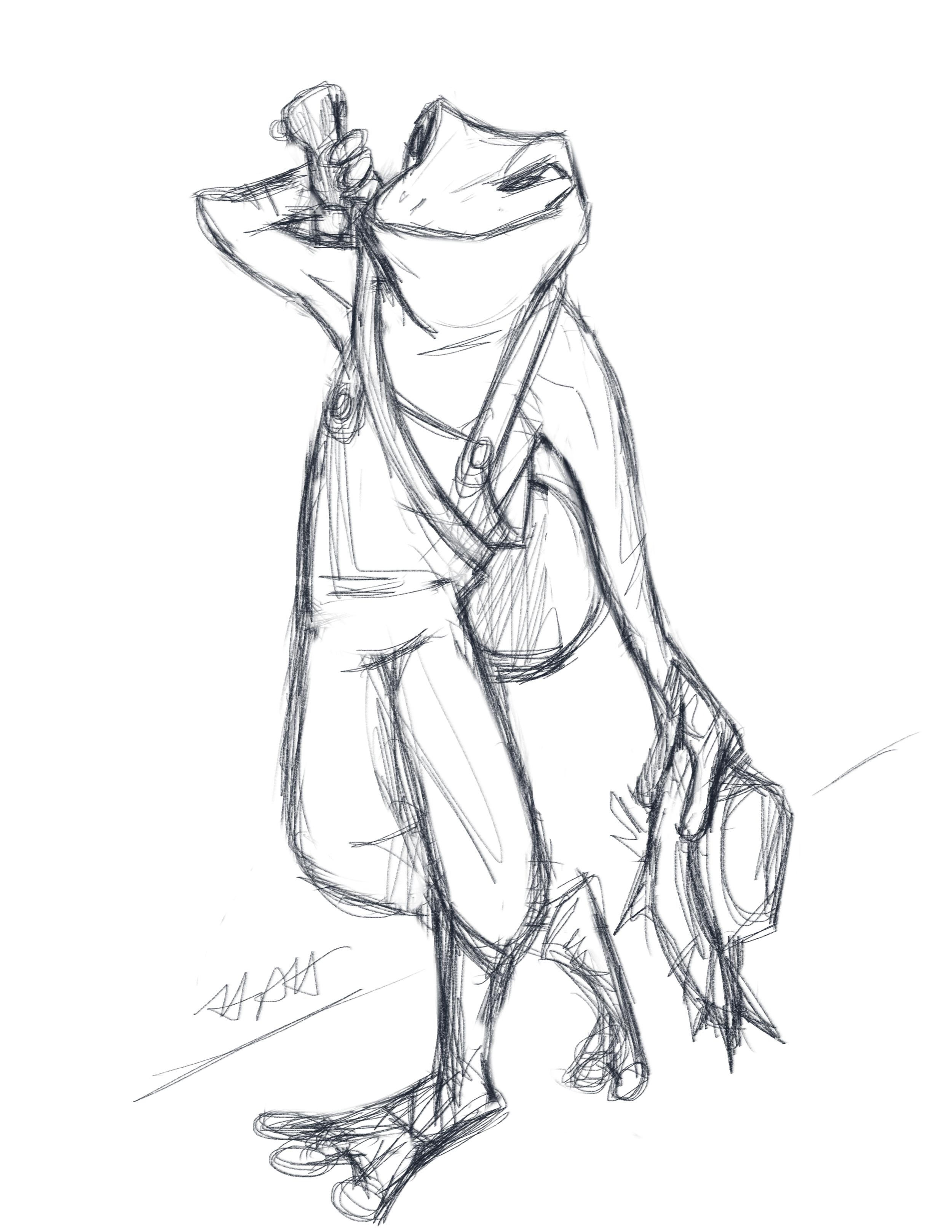 Grippli Character Design Sketch commission