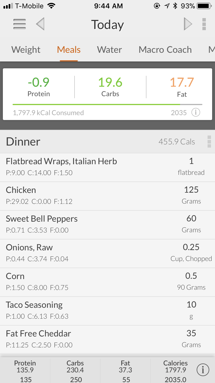 My macro goals are shown at the top AND the bottom here on MyMacros+