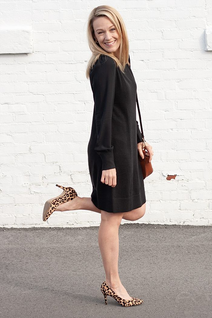 Ann Taylor Loft Black Dress. Leopard Shoes._0097.jpg
