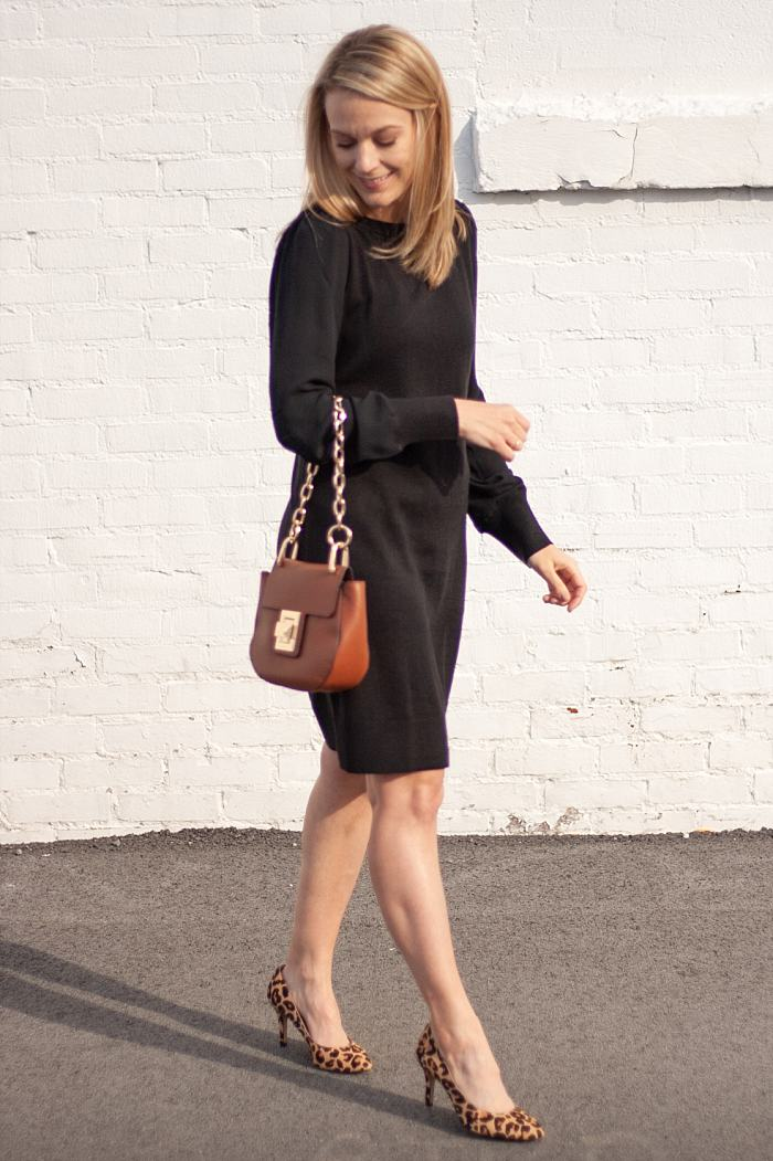 Ann Taylor Loft Black Dress - Steve Madden Chain Link Purse - Leopard Pumps_0103.jpg
