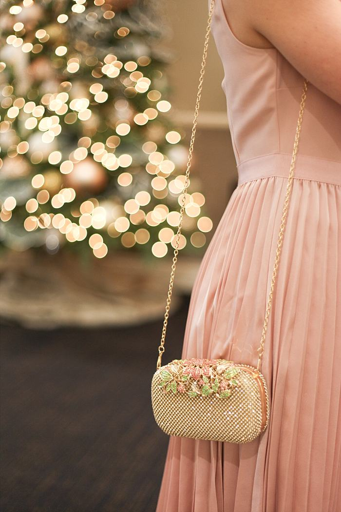 Christmas Concealed Carry Outfit . Holiday Party . Pink Pleated Dress . Gold purse_0177.jpg
