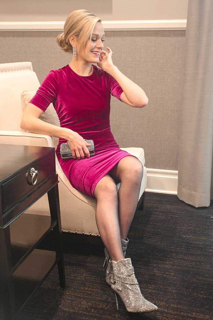 Christmas Concealed Carry Outfit . Holiday Party . Fuscia Velvet Dress . Sparkly Boots_0169.jpg