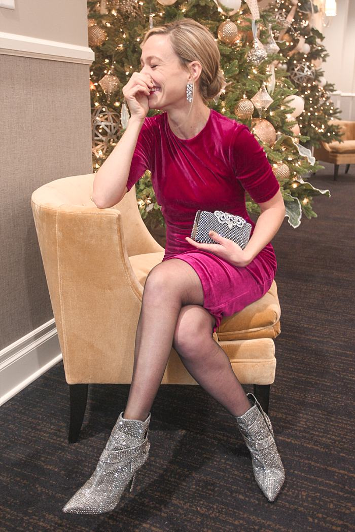 Christmas Concealed Carry Outfit . Holiday Party . Fuscia Velvet Dress . Sparkly Boots_0172.jpg