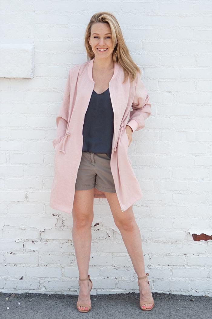 Shop The Look    Jacket   | Tank (  Similar  ) | Shorts (  Similar  )|   Heels   (  Similar on sale  )   (  Similar on sale  )